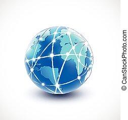 sieć, komunikacja, ilustracja, wektor, świat, technologia