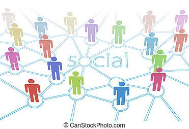 sieć, ludzie farbują, media, stosunek, towarzyski