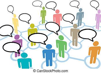 sieć, ludzie, komunikacja, stosunek, mowa, towarzyski, rozmowa