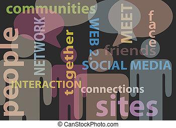 sieć, ludzie, media, komunikacja, mowa, towarzyski