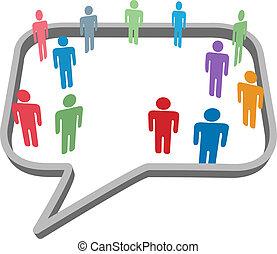 sieć, ludzie, media, symbolika, mowa, towarzyski, bańka