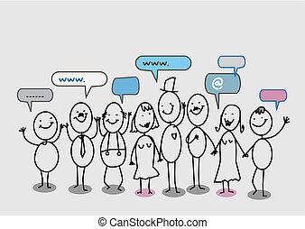 sieć, ludzie, towarzyski