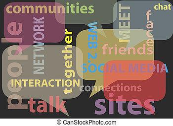 sieć, media, słówko, towarzyski, bańki, rozmowa