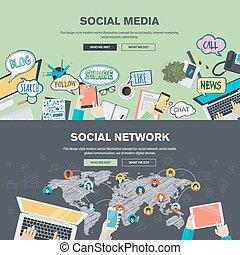 sieć, media, towarzyski