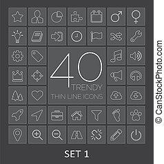 sieć, mobile., ikony, 40, 1, komplet, cienki, modny, kreska