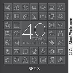 sieć, mobile., ikony, 40, 3, komplet, cienki, modny, kreska