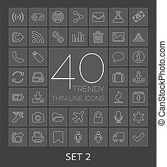 sieć, mobile., ikony, 40, komplet, cienki, modny, 2, kreska