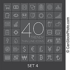 sieć, mobile., ikony, 40, komplet, cienki, modny, kreska, 4