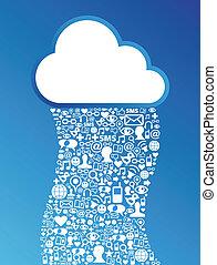 sieć, obliczanie, media, tło, towarzyski, chmura
