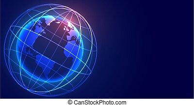 sieć, połączenie, cyfrowy, ziemia, globalny, technologia, tło