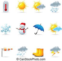 sieć, pogoda, -, ikony