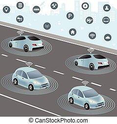 sieć, pojazd, radiowy, autonomiczny, wozy