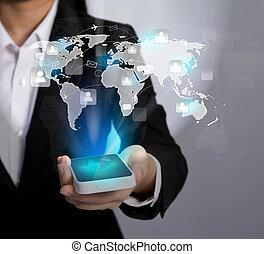 sieć, pokaz, ruchome zakomunikowanie, nowoczesny, ręka, telefon, dzierżawa, towarzyski, technologia