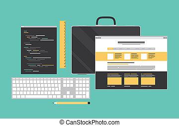 sieć, programowanie, ilustracja, kodowanie, płaski