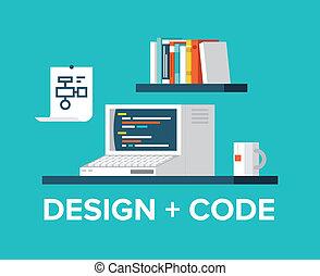 sieć, programowanie, ilustracja, komputer, projektować, retro
