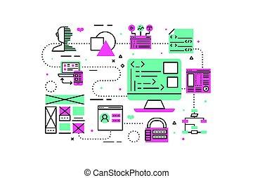 sieć, programowanie, ilustracja
