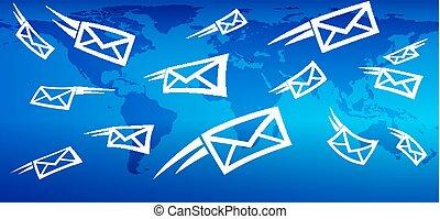 sieć, przesyłka, handel, globalny, tło, messaging, poczta, email