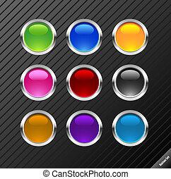 sieć, różny, buttons., aqua, redagować, zbiór, style., wektor, połyskujący, odpoczynek, kolor, size., 2.0, jakiś, okrągły