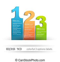 sieć, styl, handlowy, porównanie, użytek, etykiety, produkt, 3, papier, depliant, ideał, presentation., infographics, albo, choices.
