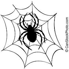sieć, sylwetka, pająk