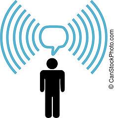 sieć, symbol, wifi, radiowy, rozmowy, człowiek