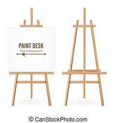 sieć, sztaluga, szablon, przestrzeń, drewniany, paper., biurko, odizolowany, realistyczny, tło., vector., czysty, biały, design., malować, malarz, set.