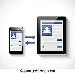 sieć, tabliczka, ilustracja, pc, towarzyski, smartphone.