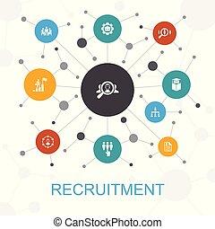 sieć, taki, pojęcie, zatrudnienie, ikony, zawiera, icons., werbunek, kariera, modny, położenie