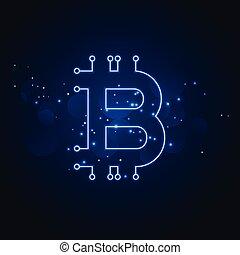 sieć, technologia, bitcoin, tło, cyfrowy