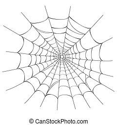 sieć, wektor, pająk, biały