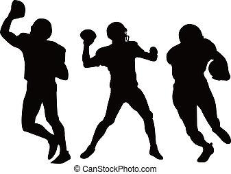 silhouett, gracze, amerykańska piłka nożna