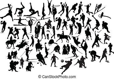 silhouettes., ilustracja, wektor, czarnoskóry, zbiór, biały, sport