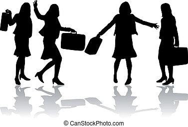 silhouettes., kobiety