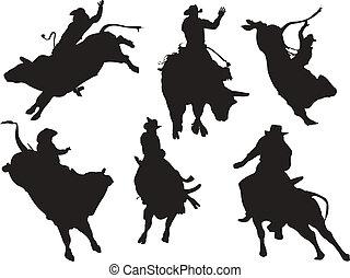 silhouettes., rodeo, wektor, sześć, ilustracja
