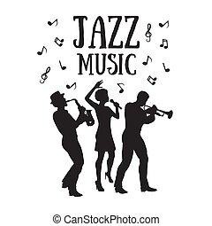 singer., 60, muzycy, trąbka, 50, albo, saksofonista, jazz, gracz, styl, orchestra., sylwetka, kobieta, afrykanin
