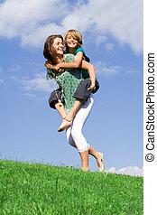 siostra, młody, interpretacja, piggyback, macierz, albo, koźlę