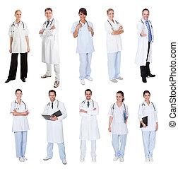 siostry, medyczny, pracownicy, leczy