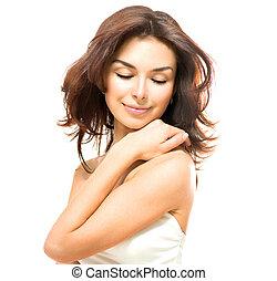 skóra, dotykanie, piękno, młody, woman., samica, jej, piękny