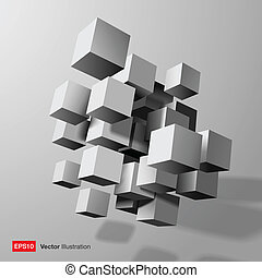 skład, abstrakcyjny, 3d, biały, cubes.
