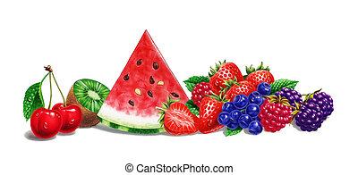 skład, wiśnia, kiwi., kropla, strzyżenie, bacround, arbuz, malina, tło., owoc, różny, truskawka, included., ścieżka, cień, żurawina, biały