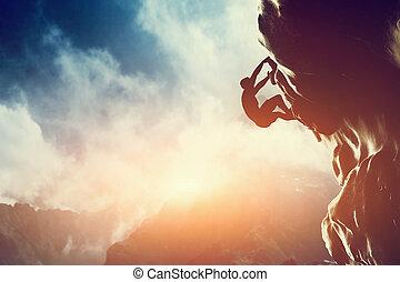 skała, góra, sunset., człowiek wspinaczkowy, sylwetka