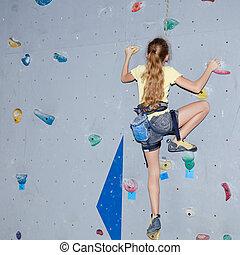 skała wspinaczkowa ściana, nastolatek