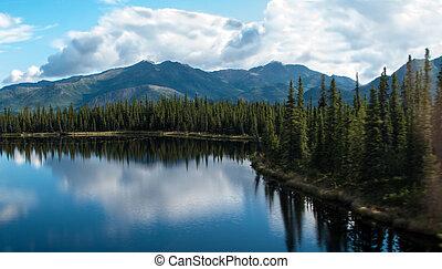 skala, jezioro, góra