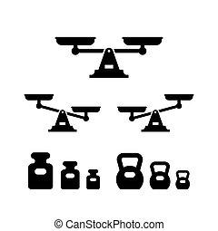 skalpy, ikony, komplet, ciężary