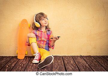 skateboard, hipster, dziecko