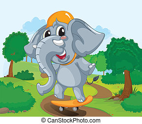 skateboard, słoń