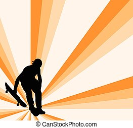 skateboard, wektor, -, tło