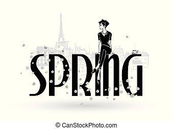 sketch-style, dziewczyny, fason, spring., paris.