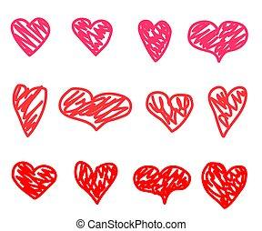 sketch., zbiór, serca, tło., wektor, biały, różny