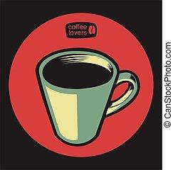 sklep, ilustracja, wektor, 5, kawa